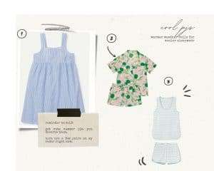 striped nightgown, lime and leaf pajama short set, striped tank and shorts is cotton