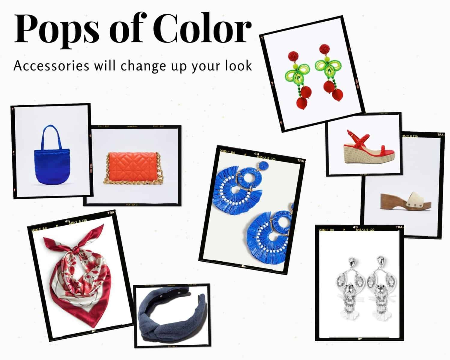 1)  Blue purse  2)  Red purse  3)  Cherry earrings  4)  Red scarf  5)  Blue headband  6)  Blue earrings  7)  Red sandals  8)  White slides  9)  White lobster earrings
