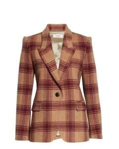 Plaid burgundy blazer with a single button is a great neutral for your capsule wardrobe basics