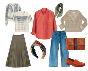 striped sweater set, red button-down, olive colored pleated skirt, green floral scarf, linen sweater, flared jeans, burnt orange loafers, capsule wardrobe items for a fall wardrobe