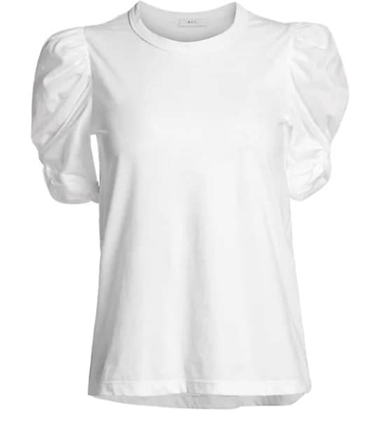 puff sleeve with a twist at arm white tshirt basic