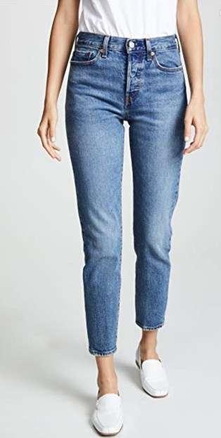 straight leg medium wash jeans slightly cropped