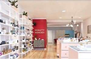 products on shelves of the best chemical free beauty store Beauty Heroes