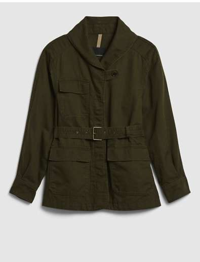 olive green belted cargo chost jacket that is a timeless wardrobe staple