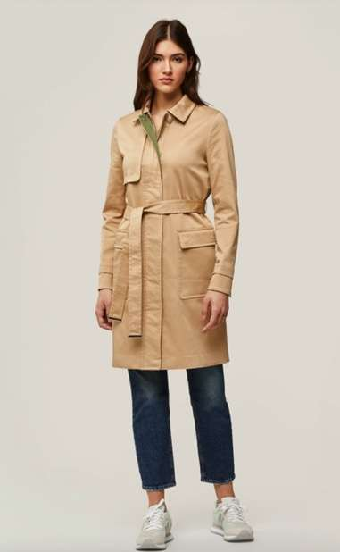 khaki trench coat with green color inside collar