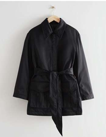 short navy jacket as an alternative to the timeless trench coat