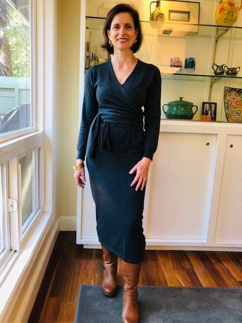 dark grey sweater wrap dress. A great dress to wear for  Thanksgiving