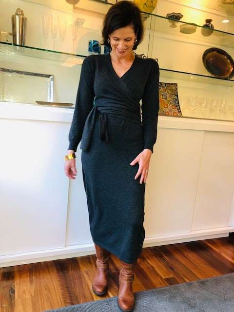 wrap sweater dress in grey. One of a selection of dresses for thanksgiving dinner